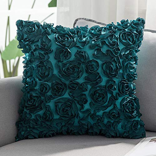 MIULEE 3D Decorative Romantic Stereo Chiffon Rose Flower Pillow Cover Solid Square Pillowcase for Sofa Bedroom Couch 18x18 Inch 45x45cm Turquoise