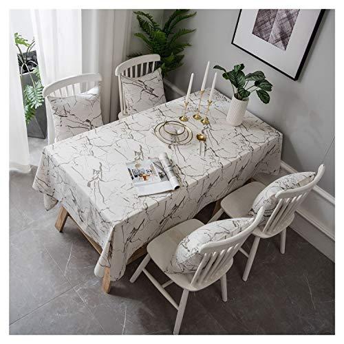 TL TONGLING Manteles Lavable de algodón de Lino a Cuadros Diseño Gran Mantel de Mesa for la Cocina Comedor Buffet Decoración (Color : Blanco, Size : 100 * 140)