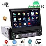 1 Din Navigation Car Stereo Android 10 Single Din Radio Bluetooth 7' Touch Screen Car CD DVD Player Indash Headunit GPS Detachable FM/AM RDS Radio Receiver Free Backup Camera Support Mirrorlink ODB2