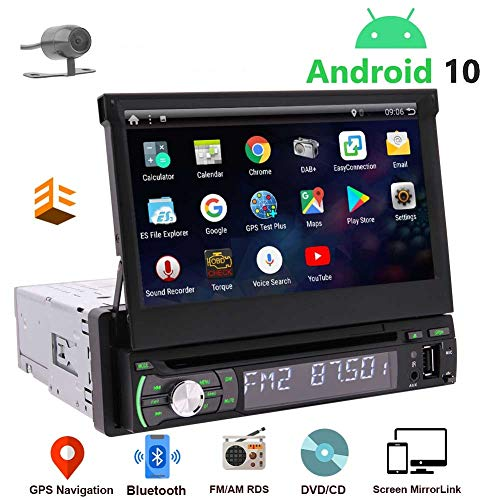 """1 Din Navigation Car Stereo Android 10 Single Din Radio Bluetooth 7"""" Touch Screen Car CD DVD Player Indash Headunit GPS Detachable FM/AM RDS Radio Receiver Free Backup Camera Support Mirrorlink ODB2"""