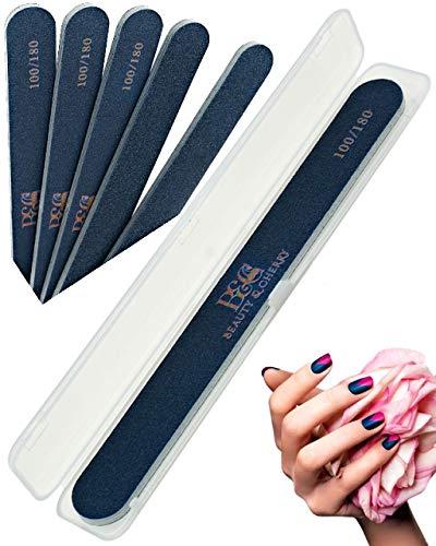 Beauty & Cherry 5 Stk Stilvolle Hochwertige Profi Nagelfeile Für Gelnägel Set 100/180 in Schwarz mit Etui Hygienebox