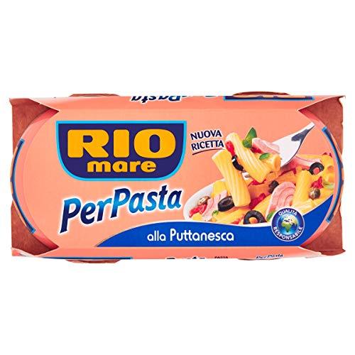 Rio Mare - PerPasta Condimento Pronto alla Puttanesca con Tonno, Pomodori, Olive Nere e Capperi, 2 Lattine da 160 g