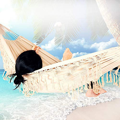 HUA JIE Garden Hammocks For Adults With Stand, Thick Canvas Swing Net Heavy Duty Comfortable Foldable Macrame Comfortable for Patio Garden Camping Travel