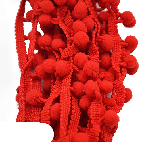 5 yardas / lote 1 cm pomp¨®n adorno Pom Pom Bobble trenza borla bola flecos cinta tela de encaje Material de bricolaje manualidades accesorios de costura-PT15 rojo