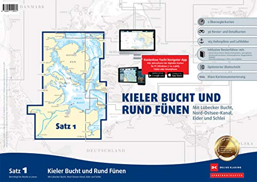 Sportbootkarten Satz 1: Kieler Bucht und Rund Fünen (Ausgabe 2020): Mit Lübecker Bucht, Nord-Ostsee-Kanal, Eider und Schlei