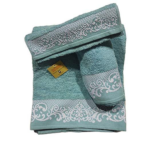 Toallas de baño en Azul Agua , Set 3 Piezas Cenefa 100% algodón Portugués , Gran absorción, 500 g.