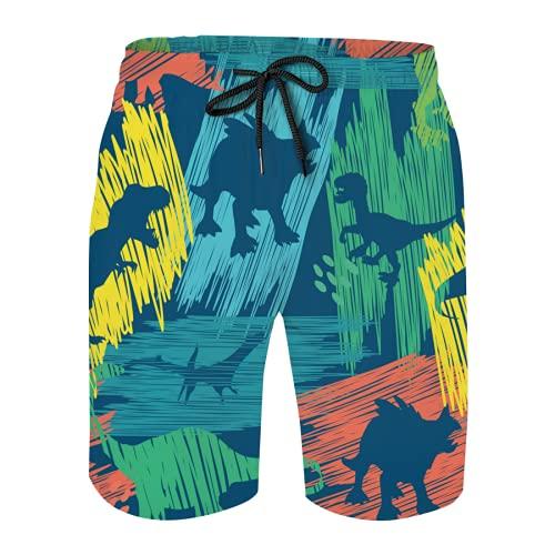 OcuteO Mens Swim Trunks Mesh Shorts Bathing Suit Teen Boy High Waisted Swimwear Bright Dino Print Cartoon Cute Dinosaurs