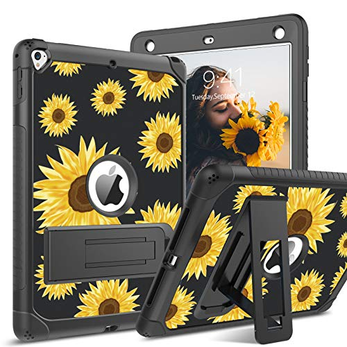 BENTOBEN iPad Air 2 Case, iPad 6th / 5th Generation Case, iPad 9.7 2018/2017 Case, iPad Pro 9.7 Case, Glow in The Dark 3 in 1 Shockproof Kickstand Protective Girls Women Men Tablet Cover, Sunflower