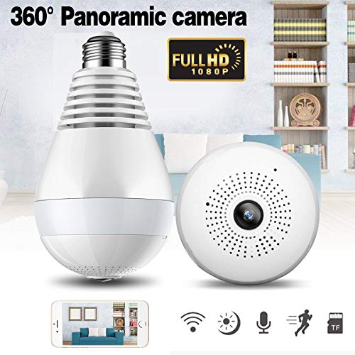 Metermall V380 Bulb Shaped Wireless Camera WIFI Remote Monitoring Network Camera Mobile Phone Home 360 Degree Panoramic Monitor 2 million (1080P) pixels