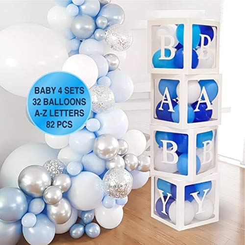 82 PCS Baby Shower Decorations for Boy Kit - Jumbo Transparent Baby Block Balloon Box Includes BABY, Alphabet Letters DYI White Gray Baby Blue Balloons, Gender Reveal Decor 1st Birthday Party Backdrop