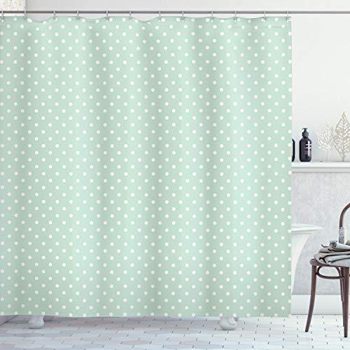 ABAKUHAUS Verde Cortina de Baño, Poco Retro de los Lunares, Material Resistente al Agua Durable Estampa Digital, 175 x 180 cm, Verde Menta Blanca