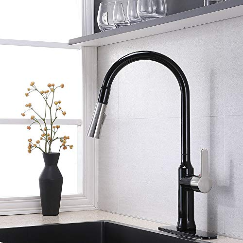 Commercial Matte Black&Brushed Nickel Kitchen Faucet,Single Handle Stainless Steel Gooseneck Kitchen sink Faucet,Best One Or Three Hole Pull Down Kitchen Faucets with Pull Out Sprayer (1 or 3 hole)