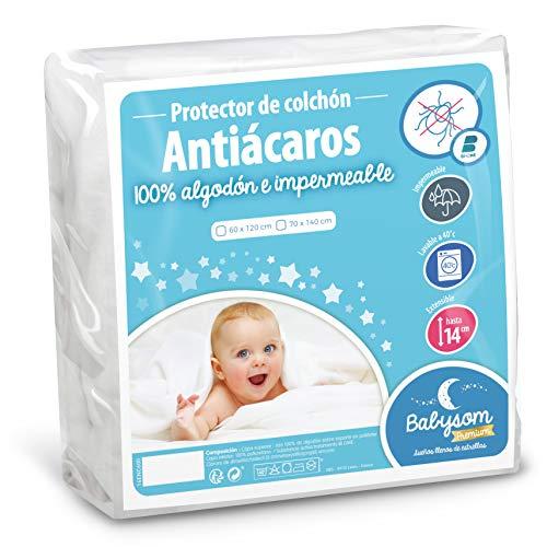 Babysom - Protector Colchón Cuna   Cubre Colchón Bebé - 60x120 cm - Antiácaros - Impermeable - 100% Algodón - Suave y silencioso - Transpirable - Antiasfixia