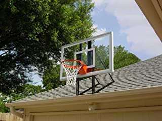 Roof King Platinum: Garage Roof-Mount Basketball Hoop System with 60 Inch backboard, Durable Steel Universal Bracket and High-Quality Break-Away Rim Combo