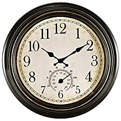 14 Inch Large Wall Clock,Vintage Non-Ticking Clock with Thermometer,Battery Operated Clock Wall Decorative- Bronze
