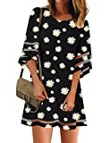 LookbookStore Women Casual Summer Crewneck Mesh Patchwork 3/4 Bell Sleeve Loose A-line Tunic Dress Black Daisy Floral Size XL