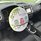 Forala Steering Wheel Cover Universal Fit UV Proof Sun Shade (Rocket) (Owl)