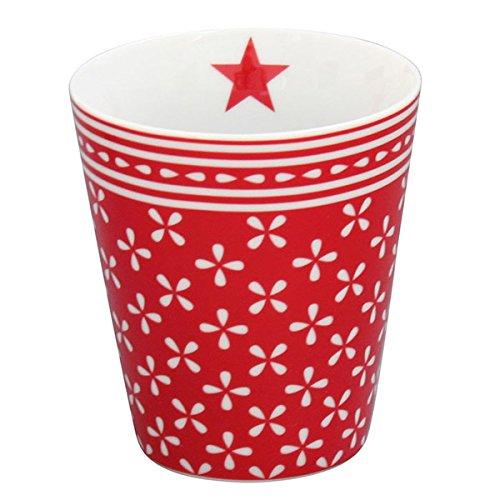 Krasilnikoff - Mug/Tasse/Becher - Daisy - rot - weiß geblümt - Porzellan - Höhe 10 cm