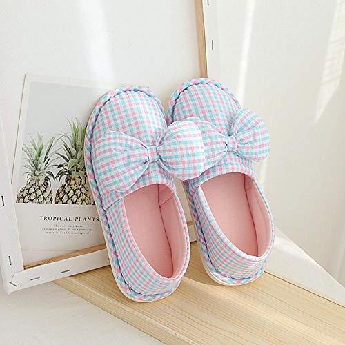 Zapatos de Piscina,Zapato de Encaje con Nudo de Mariposa, Pantuflas de posparto Transpirables de algodón con Fondo Grueso-2_S #,Botas de Deportes acuáticos