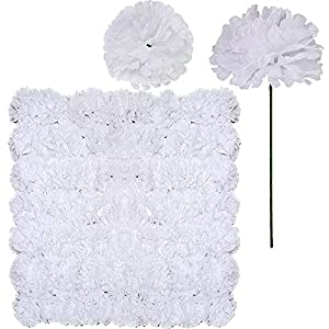 MDU-AFL 100 Pack Artificial Carnation Flowers Picks Bulk White Carnations Stems Silk Carnation Flower Heads with Wired Stems 3.5″ x 7.9″ (WXH) Floral Arrangement DIY Wreaths Blessing Ability