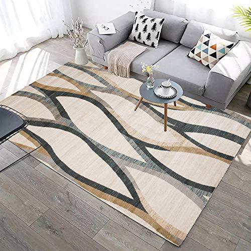 Diseño Extra Grandes Moderno Pelo Corto Funky Area Carpet Líneas onduladas Gris-Verde-marrón 120x160CM(4'0''x5'2'')