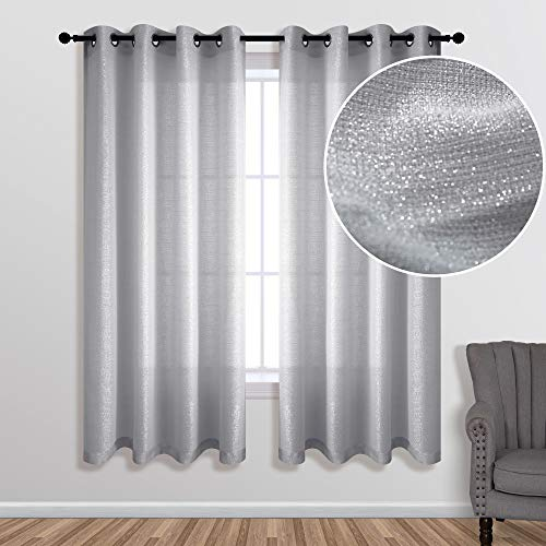 Silver Curtains 63 Inch Length for Bedroom 1 Panel Grommet Window Luxury Glitter Sparkle Darkening Semi Sheer Gray Elegant Shiny Curtains for Girls Room Decor Living Decorations 63 Long Light Grey