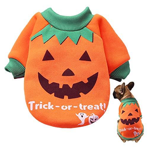 LANMOK Disfraz de Calabaza para Perro Ropa para Mascotas de Halloween Naranja Trajes Suéter de Gato Jerséis Regalo Cumpleaños para Mascota Invierno Fiesta de Pascua