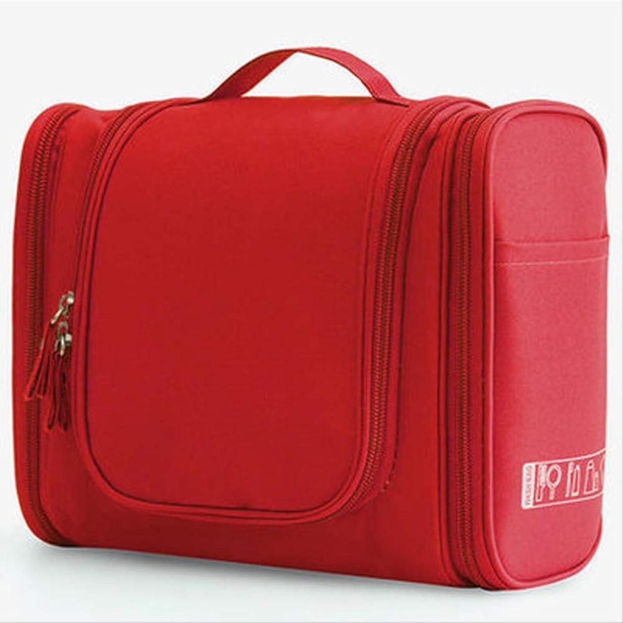 側デクリメント直立防水ナイロン旅行収納袋ユニセックスレディース化粧品袋ぶら下げ旅行化粧品袋トイレタリー用品キット収納袋赤