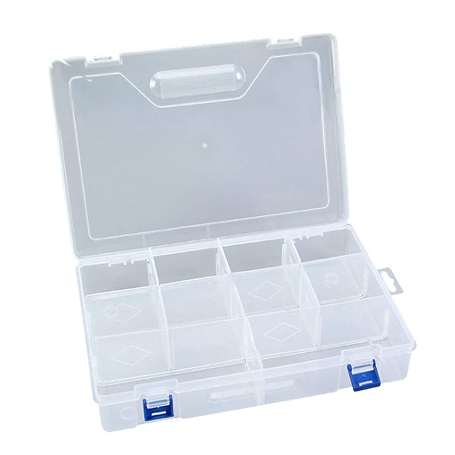 KISEER Clear Crafts Storage Container Box Case Organizer for Art, Jewelry, Coin, Screw, Stationery, 10 Compartments