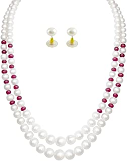 Trendy Souk Women's Bridemaids Double Strings With Enchancing Ruby Red Beads, Aaa Quality, High Luster, Real Fresh Water, Hyderabadi Pearls Necklace Set