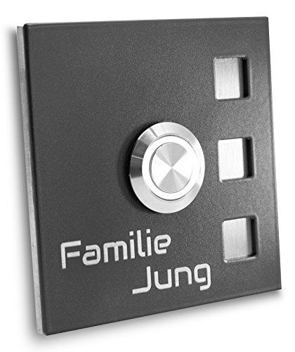Jung-Edelstahl-Design Türklingel mit Gravur anthrazit Ral7016 pulverbeschichtet. Haustürklingel 70x70 mm Klingel Taster Led weiß Klingelplatte Köln