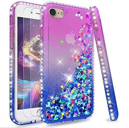 LeYi per Cover iPhone SE 2020,Cover iPhone 7/8 Glitter Custodia con Vetro Temperato [2 Pack],Brillantini Diamond Liquido Sabbie Mobili Bumper Case Custodie per Apple iPhone SE 2020 Donna Viola Blu