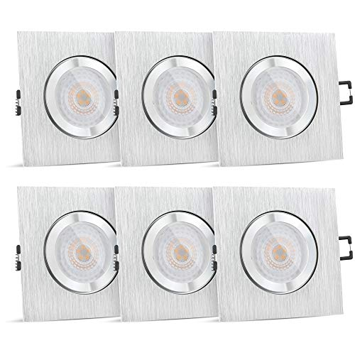 SSC-LUXon QW-2 LED Einbaustrahler Bad 6er Set IP44 flach gebürstet - fourSTEP Leuchtmittel 'Dimmen ohne Dimmer' 5W warmweiß