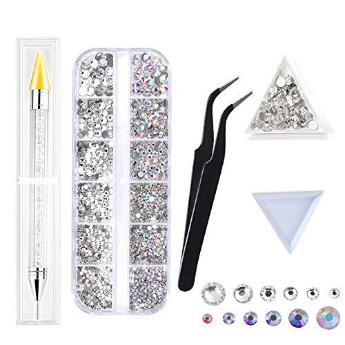 1503 Pezzi Cristallo per Unghie AB e Cristallo per Unghie Strass Trasparenti Nail kit 6 Dimensioni (1,5-1,9-2,4-2,7-3-3,8mm) Con Penna Trapano, Pinzette e Vassoio...