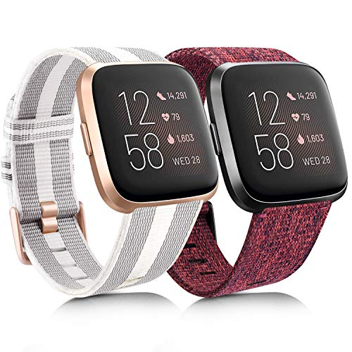 [2 Pack] Woven Fabric Bands Compatible with Fitbit Versa 2, Fitbit Versa/Versa Lite/Versa SE for Women Men, Dark Red & Striped White/Gray, Large