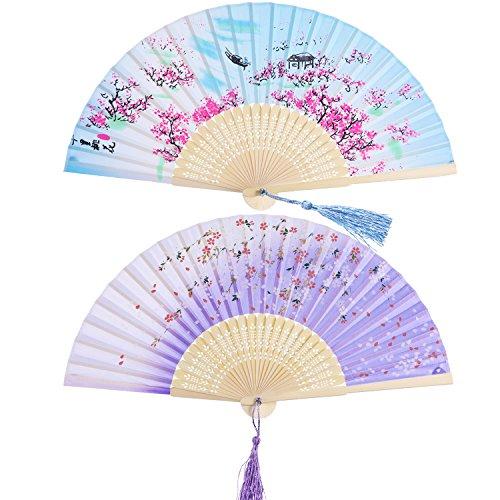 2 Piezas Abanicos Plegables Portátil Abanicos de Mano de Bambú con Borlas Abanicos de Bambú de Hueco de Mujeres para Decoración de Pared, Regalos (Patrón de Flor de Melocotón Azul y Cerezo Morado)