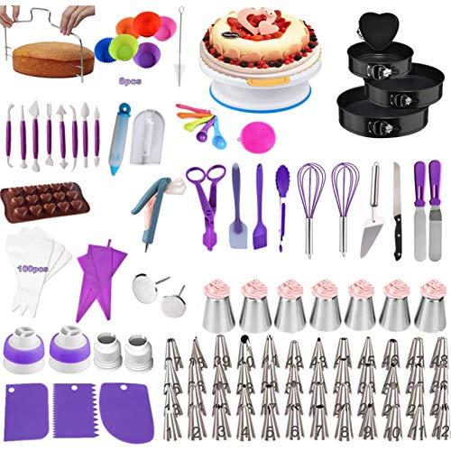 Tortenplatte Drehbar Und Backset,262 Teiliges Kuchen Backform Set Kuchenplatte Mund Dekorieren Cremetasche Russischer Mund Backgeschirrset