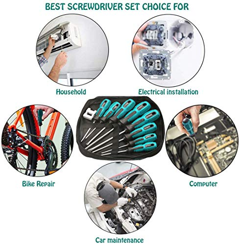 Magnetic Screwdriver Set 12 PCS,4 screw sets,4 Phillips and 4 Flat Head Screwdriver Non-Slip for Repair Home Improvement Craft