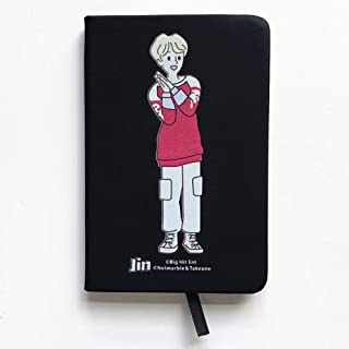 Hosston BTS Notebook, Kpop Rap Monster, JIMIN, JIN, SUGA, J HOPE, JUNGKOOK, V Cute Cartoon PU Leather Notebook School Office Supplies for Taking Notes and Drawing, Collection(05-JIN)