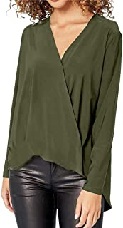 An Ping Shirts for Womens, Womens Ladies Chiffon Solid Loose Shirts Long Sleeve V-Neck Office Top Blouse