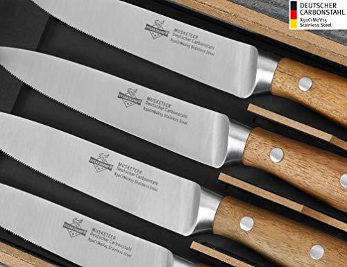 """Steakchamp Premium Steakmesser """"4 Musketeer"""", Deutscher Carbonstahl (rostfrei), 4er Set in Geschenk-Box, Holz, 20cm"""