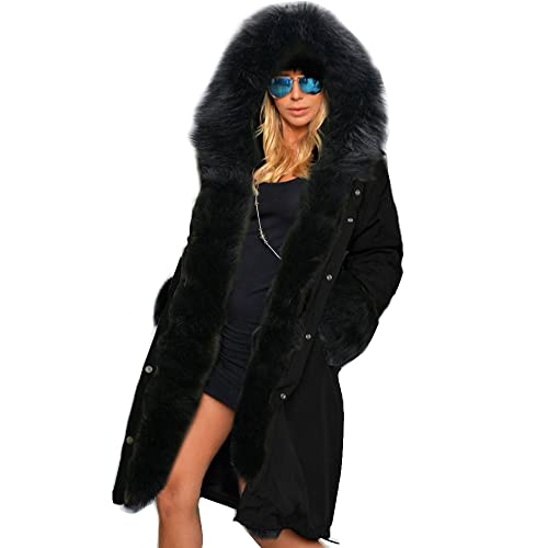 708aaae33a Roiii Women Winter Warm Thick Faux Fur Coat Hood Parka Long Jacket Size 8-18