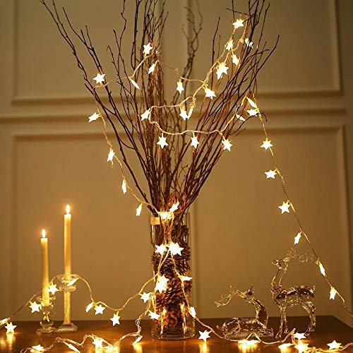 CJKBD Luces de estrella LED luces redondas decoración de la habitación luces de cadena creativas de bricolaje luces de cortina de habitación luces colgantes-Star blanco cálido 10M100LED enchufado