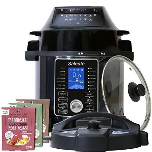 Salente ARIO Elektrischer Schnellkochtopf und Heißluftfritteuse, Druck Langsam Kochtopf, 11-in-1, über 40 Programme, Multikocher 6l aus Edelstahl, 1500-1000 W