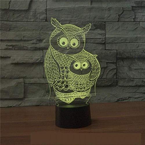 Uil 3D verlicht zeven kleuren oogschaduw sfeer, schrijftafel, 3D lamp-decoratief geschenk voor babykamer-verlichting
