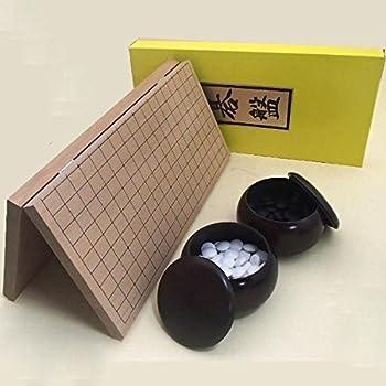 囲碁セット 打ち心地十分な新桂7号折碁盤とガラス碁石新生竹(厚み約9mm)と銘木大のセット