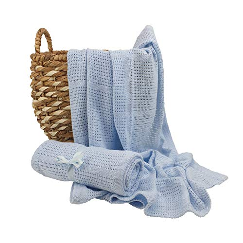Mantas de bebé celulares: ideal para recién nacidos, bebés y niñas. Manta de algodón para cochecito, cuna y cestas moisés azul Manta Celular Azul