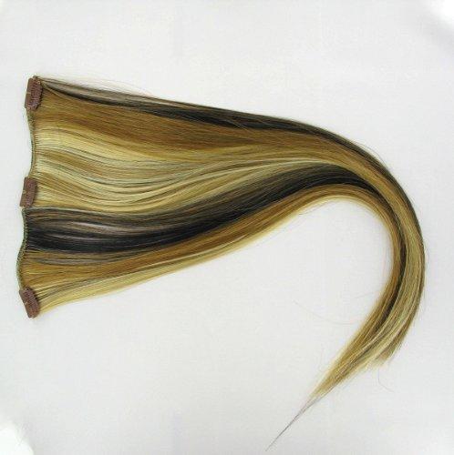 extensions à clip cheveux blond clair méché cuivré clair et chocolat 60 cm ref: 15613h4