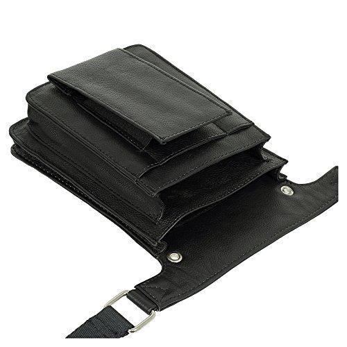 Profi Tablet-Kellnertasche passend für iPad mini bis 8 Zoll & Kellnerbörse Rindsleder Schwarz - Kellnertasche mit Gürtel