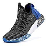 WETIKE Mesh Slip On Lightweight Athletic Shoes, Black Blue Size 5 Big Kid
